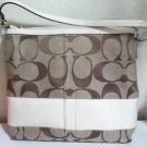 Coach signature c logo with white trim convertible shoulder bag f13674