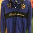 Women's Blue Medium Ralph Lauren Polo Long Sleeve Shirt Challenge Cup Derby