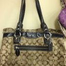 Coach  Penelope Signature Bag 14692 Brown & Beige Jacquard Black Patent Leather