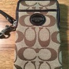 Coach Print Signature Universal Phone Case Wristlet Brown Jacquard