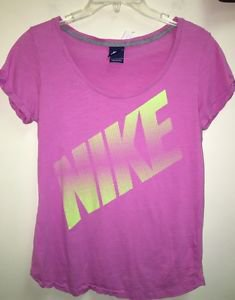 Women's Large Pink With Yellow Volt Nike Logo Short-Sleeved T-Shirt