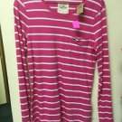 Ladies Medium Hollister Pink White Striped Longsleeved Shirt Nwt