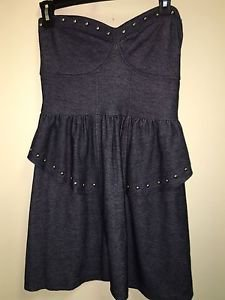 American Eagle Size Small Jean Tube Dress Silver Studded