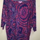 Women's Large Nwot Lilly Pulitzer Pink Purple Over Sized Blouse