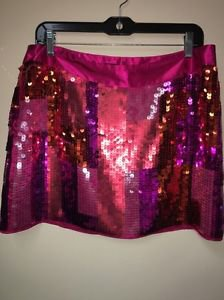 Women's NWT Express Design Studio Sequin Pink Orange Fushia Mini Skirt. Size 10