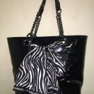 DKNY Black Patent Leather w/ Zebra Scarf Large Shopper Tote Purse NWT$225