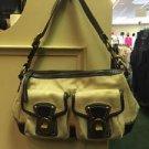 COACH L0894 F13102 Legacy Satchel Shoulder Bag Beige Fabric & Black Leather $348