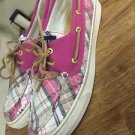 SPERRY TOP-SIDER WOMENS PINK PLAID 2 EYE SEQUIN BAHAMA DECK BOAT SHOES SIZE 9.5