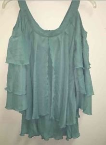 Hot in Hollywood 24/7 Charming Cold-Shoulder Blouse Sage Green Med NEW 319-725