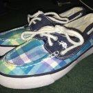 US POLO Assn Women's Boat Deck Plaid/ Blue Canvas Shoes Size 6