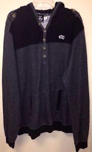 Men's 4XL Black And Grey LRG Clothing Pullover Sweatshirt Hoodi
