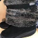 Women's 9.5 Black Skechers Shape Ups leather/faux fur snow boots
