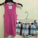 Kids Abercrombie And Fitch Tank/shorts Outfit Pink Plaid Sz M/14