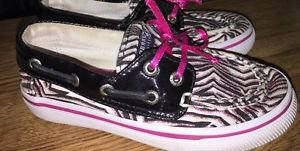 Sperry Top Sider Girls Size 9 Kids Bahama Black White Purple Glitter Boat Shoes