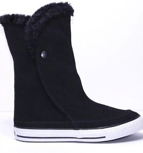 626052c Converse Chuck CT Black High Top Beverly Boot Fur Boots Size 4Y Nwot
