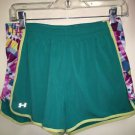 Women's Under Armor Small Teal Green Athletic Shorts With Pink Design Sides