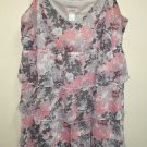 Ann Taylor Small Grey Pink Ruffle Dress