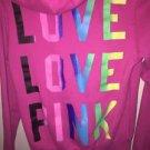 Victoria's Secret Pink Xs Pink W Rainbow Letters Hoodie Sweatshirt
