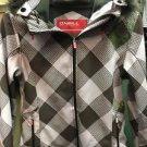 Women's Medium Pink Grey Plaid Winter Coat With Fur Hood