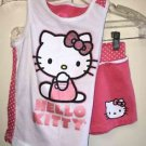 Girls 6x Hello Kitty 2 Piece Outfit Shorts& Tank Top Coral Pink White Glitter