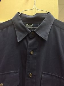 Mens Medium Polo By Ralph Lauren Solid Blue Button Up Dress Shirt
