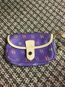 Dooney And Bourke Purple Wristlet DB Signature Canvas Pvc
