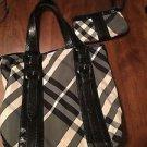BURBERRY BEAT LOWRY NYLON TOTE BLACK handbag Matching Wristlet RP $2k