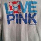 Victorias Secret Love Pink Zip Up White Hoodie