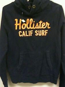 Mens Medium Navy blue orange  Hollister Pull over Hoodie