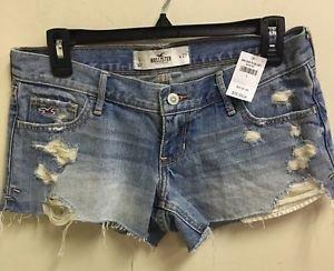 NWT $40 Hollister Sz 5 Light Wash Destroyed Jean Shorts