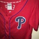 Victoria's Secret Pink Xs Red Philadelphia Phillies Button Up Crop Bling Jersey