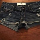 Women's Size 0 Hollister Jean Shorts Medium Wash Destroyed