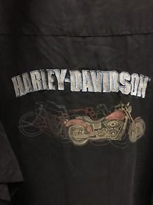 Men's Extra Large Black Harley Davidson Button Down Short Sleeve Shirt