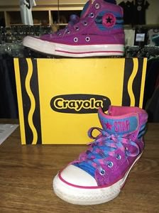 Crayola Converse Hi Top Sneakers Youth 1 Red Violet 338693f