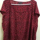 ARMANI EXCHANGE Womens Large Red & Black Leopard Print Shirt Loose Fit