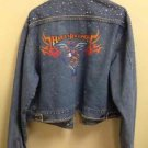 Harley Davidson Motorcycle  Studded Rhinestone Jean Jacket Womans XL Eagle/flame