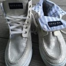 Sperry Top Sider Women's Size 7.5 White Sequins High Tops Fold Downs