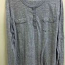 Nwot Men's Xxl Grey Express Henley Long Sleeve Light Weight Shirt