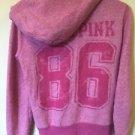 Women's Small Pink Victoria's Secret Love Pink Zip Up Hoodie Sweatshirt