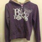 Ladies M Purple Plum Billabong Zip Up Fur Hood Jacket Sweatshirt