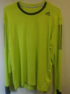 Mens Large Neon Green Adidas Long Sleeve Shirt Bright Green/gray