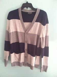 Men's Medium Navy And Gray Striped Express Button Down Cardigan