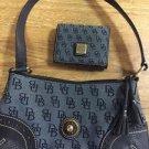 Dooney And Bourke Sm Slim Shoulder Bag Blue Signature Dust Bag Matching Wallet