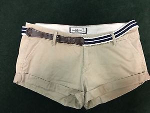 Abercrombie And Fitch Size 6 Khaki Tan Shorts W Belt