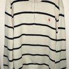 Men's Xxl White Black Stripe Polo Ralph Lauren Pullover Half Zip Sweater