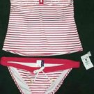 NWT Womens Large Red White Stripe Sperry Top Sider Swim Suit Bikini $120