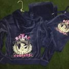 Women's Juniors Large Blue Purple Juicy Couture Outfit Royal Couture Logo