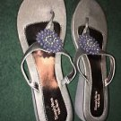 Simply Vera Wang Silver Gray Pewter Beaded Wedge Thong Sandals Size XL 11