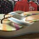 Coach Felicite Watercolor Print Sandals Size 8.5 Wedge T-Strap  Flip Flops Shoes