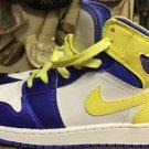 Nike Air Jordan Retro 1 Size 6 Y Shoes 555112-118 White/violet/yellow Excellent